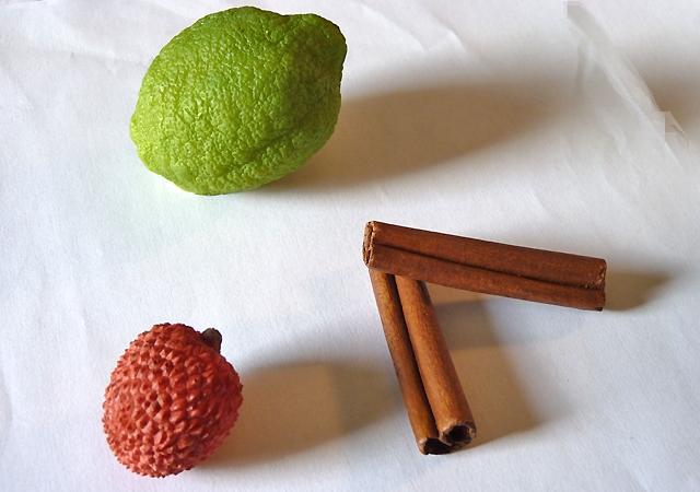 litchi et citron factice